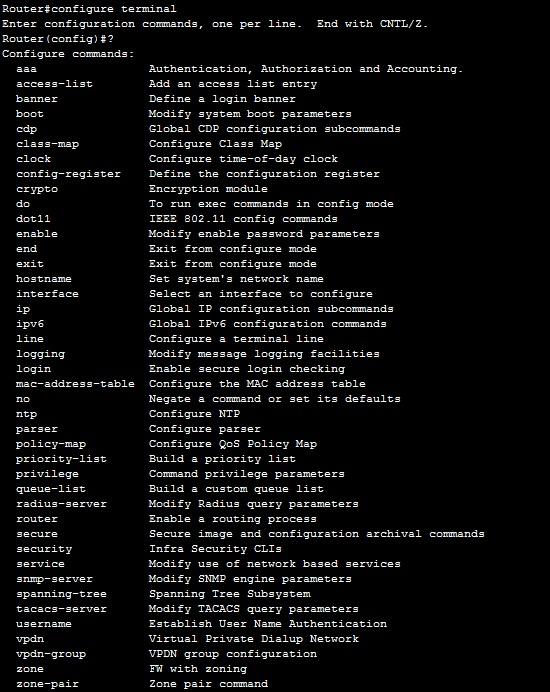 global configuration commands